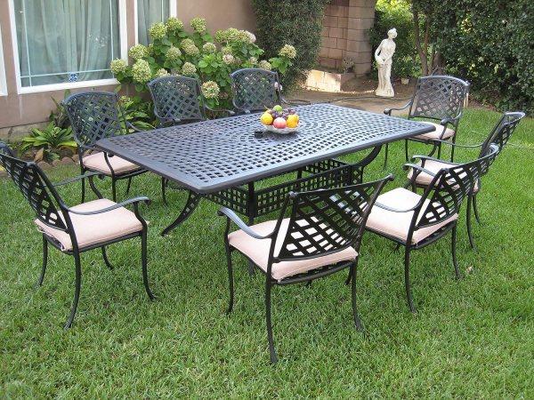 aluminium garden furniture sets Outdoor Cast Aluminum Patio Furniture 9 Piece Dining Set