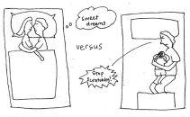 Eczema parents and child sleep bedtime cartoon