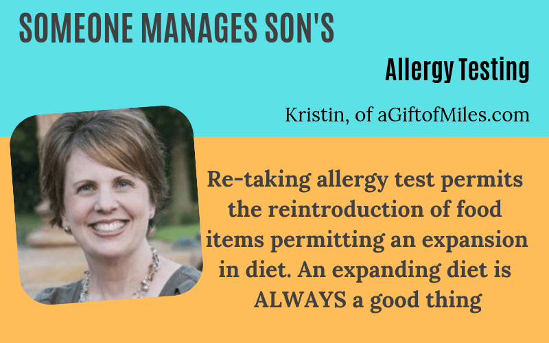 Someone manages son allergy testing Kristin AGiftofMiles Story on EczemaBlues
