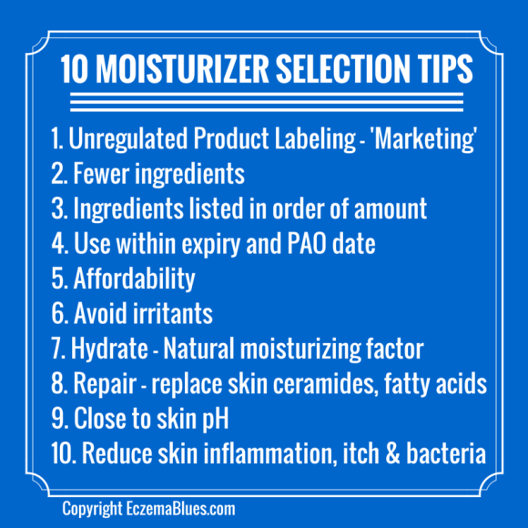 Selecting a right moisturizer can be tricky and confusing! Here are 10 selection tips, suited for those with eczema or sensitive skin