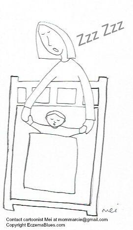 Mom Sleep cartoon with Eczema Baby