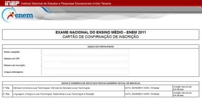 As provas do Enem 2011 serão realizadas nos dias 22 e 23 deste mês