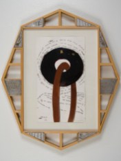 """Elba Damast, """"Estudio 69,"""" 1991 Custom frame, acrylic and ink on paper.67cm X 57cm Collection of the family"""
