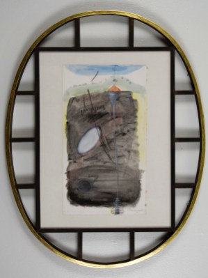 """Elba Damast, """"Estudio 1313,"""" 1991 Custom frame, acrylic and ink on paper.70cm X 55cm Collection of the family"""