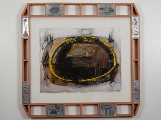 """Elba Damast, """"365 Dias 2,""""1991 Custom frame, acrylic and ink on paper.72cm X 74cm Collection of the family"""
