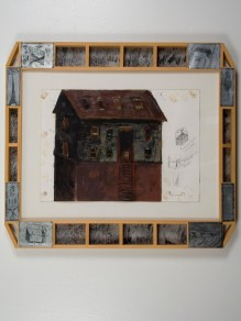 "Elba Damast, ""Esculture Sketch 4,"" 1991 Custom frame, acrylic and ink on paper.66cm X 74cm Collection of the family"