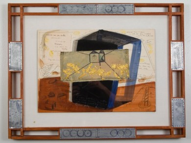"Elba Damast, ""Blue Print 3,"" 1991 Custom frame, acrylic and ink on paper. 59cm X 76cm Collection of the family"