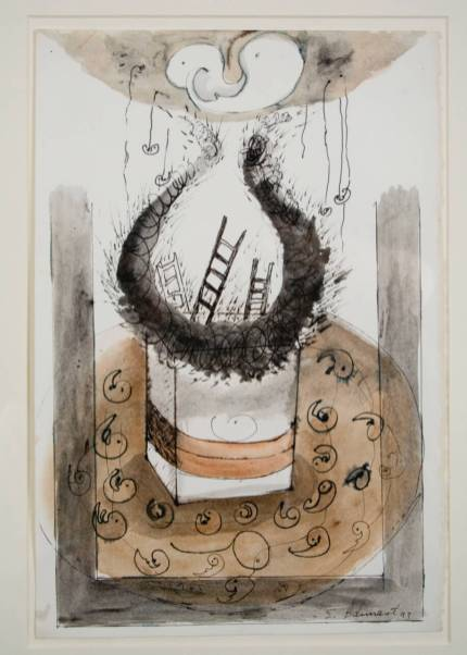 "Elba Damast, ""Costa Rica Poem 2,"" 1993 Acrylic and ink on paper 21"" x 18"" Collection of the family"