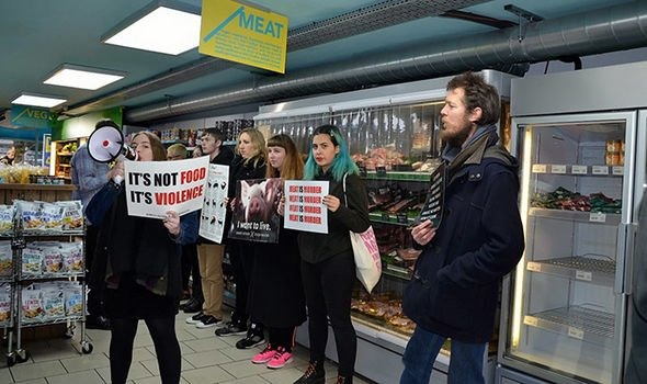 Vegan protesters storm ETHICAL supermarket for selling meat and dairy