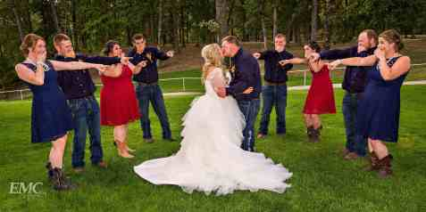 The bridal party seems shocked by Kylie and Cody's behavior.