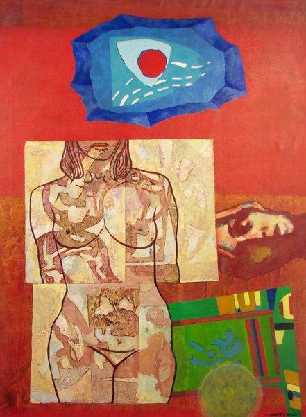 """Endel Kõks """"Autoportree. Esindab vanemat maalikunsti, portreed ja abstraktsionimi, punast ja teisi jõulisi värve."""