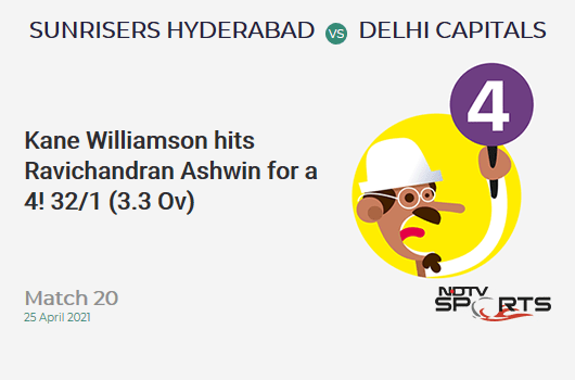 SRH vs DC: Match 20: Kane Williamson hits Ravichandran Ashwin for a 4! SRH 32/1 (3.3 Ov). Target: 160; RRR: 7.76