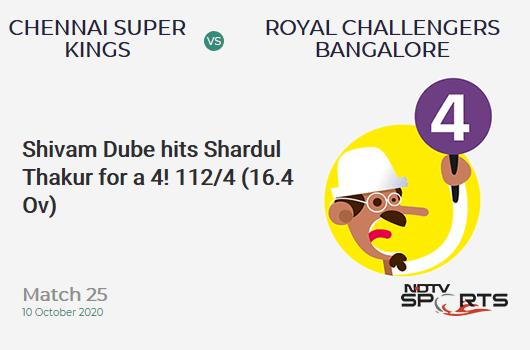 CSK vs RCB: Match 25: Shivam Dube hits Shardul Thakur for a 4! Royal Challengers Bangalore 112/4 (16.4 Ov). CRR: 6.72
