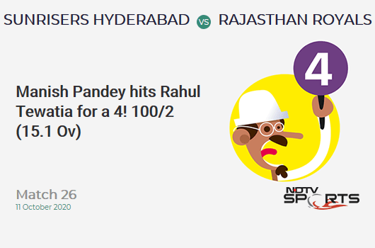 SRH vs RR: Match 26: Manish Pandey hits Rahul Tewatia for a 4! Sunrisers Hyderabad 100/2 (15.1 Ov). CRR: 6.59