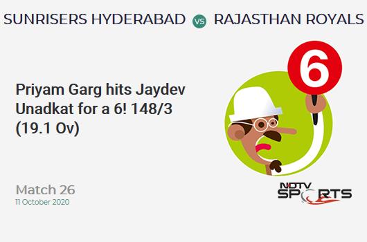 SRH vs RR: Match 26: It's a SIX! Priyam Garg hits Jaydev Unadkat. Sunrisers Hyderabad 148/3 (19.1 Ov). CRR: 7.72