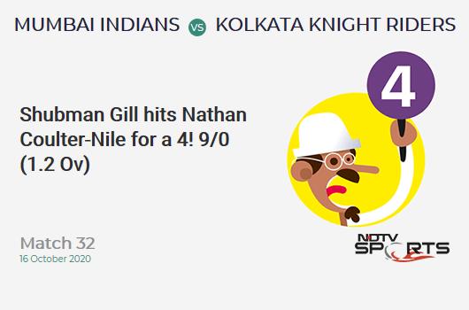 MI vs KKR: Match 32: Shubman Gill hits Nathan Coulter-Nile for a 4! Kolkata Knight Riders 9/0 (1.2 Ov). CRR: 6.75