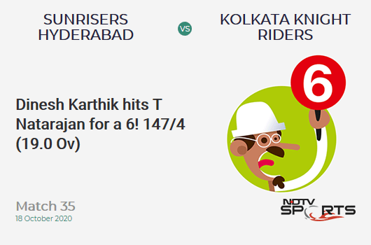 SRH vs KKR: Match 35: It's a SIX! Dinesh Karthik hits T Natarajan. Kolkata Knight Riders 147/4 (19.0 Ov). CRR: 7.73