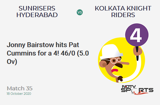 SRH vs KKR: Match 35: Jonny Bairstow hits Pat Cummins for a 4! Sunrisers Hyderabad 46/0 (5.0 Ov). Target: 164; RRR: 7.87