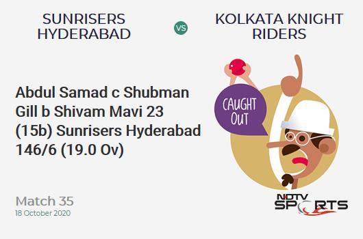 SRH vs KKR: Match 35: WICKET! Abdul Samad c Shubman Gill b Shivam Mavi 23 (15b, 2x4, 1x6). Sunrisers Hyderabad 146/6 (19.0 Ov). Target: 164; RRR: 18