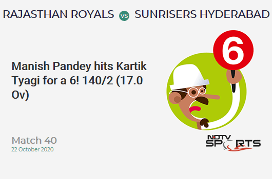 RR vs SRH: Match 40: It's a SIX! Manish Pandey hits Kartik Tyagi. Sunrisers Hyderabad 140/2 (17.0 Ov). Target: 155; RRR: 5.00
