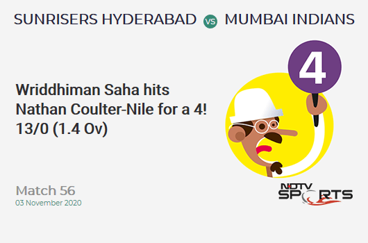 SRH vs MI: Match 56: Wriddhiman Saha hits Nathan Coulter-Nile for a 4! Sunrisers Hyderabad 13/0 (1.4 Ov). Target: 150; RRR: 7.47