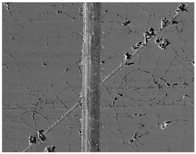Figure 4: SEM image of chrome plated surface of rotor housing liner. The scratch running vertically in the image is about 120 µm thick.
