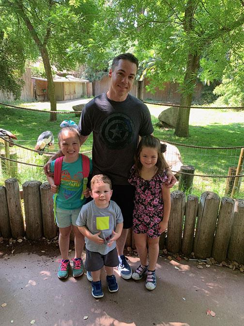 Dave Durham and his three children.