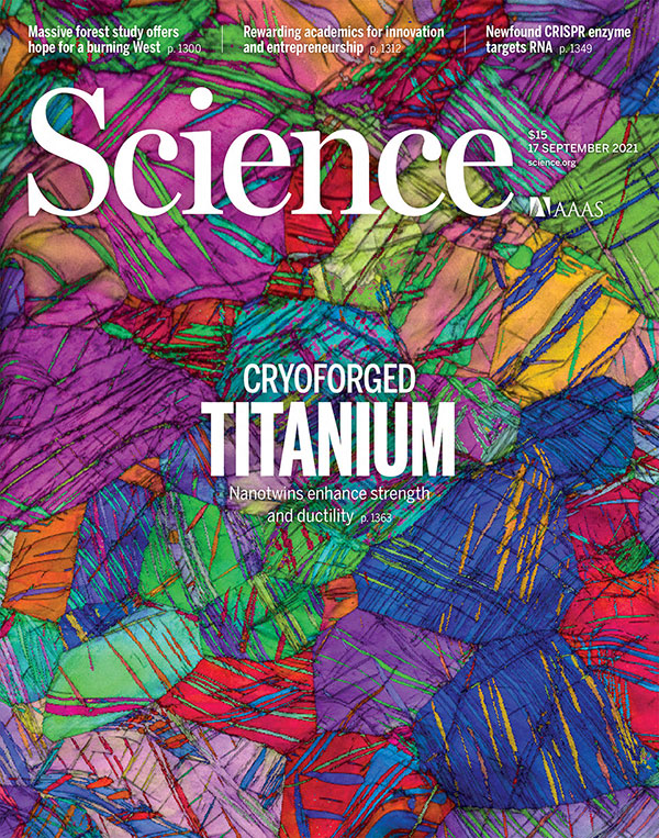 September 17, 2021 issue of Science magazine featuring an EBSD orientation map of cryoforged titanium.