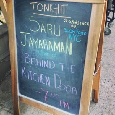 Saru Jayaraman Behind the Kitchen Door Book Court, Brooklyn, NY, April 15, 2013, photograph courtesy of Slow Food NYC via Facebook.