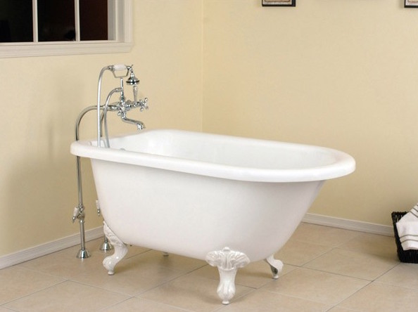 The classic white finish coupled with vintage-inspired claw feet, make this tub a perfect choice for older homes. $960-$1,005; vintagetub.com