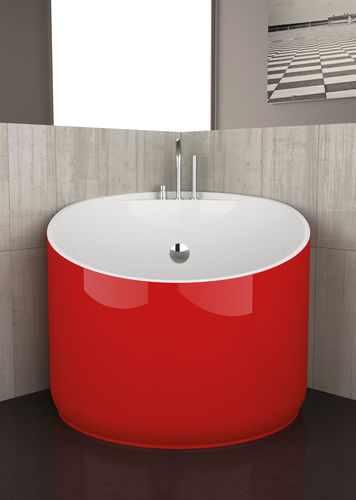 This corner-configured bathtub is made even more impressive by its bright red hue. Price upon request; archiexpo.com