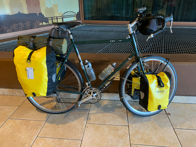 Fully loaded touring bicycle ready for travel