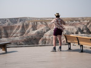 a view of the layers of volcanic deposits at the Badlands
