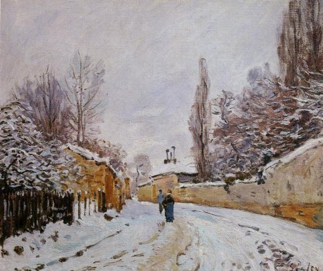 Alfred Sisley, nieve en Loveciennes, 1877, Museo D`Orsay, parís)