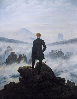David Friedrich, Viajero frente al mar de nubes, 1818, Hamburgo, muestra la grandeza y contemplación de la naturaleza, el hombre es acogido por la fuerza de la naturaleza.