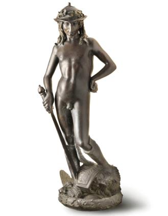Escultura de david, realizada en bronce, Donatello (1440) Museo de Bargello, Florencia, primer desnudo completo y exento del renacimiento.