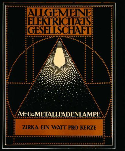 Poster de lámpara incandescente para la AEG, donde la luz es representada y sintetizada por puntos, Peter Behrens, 1910