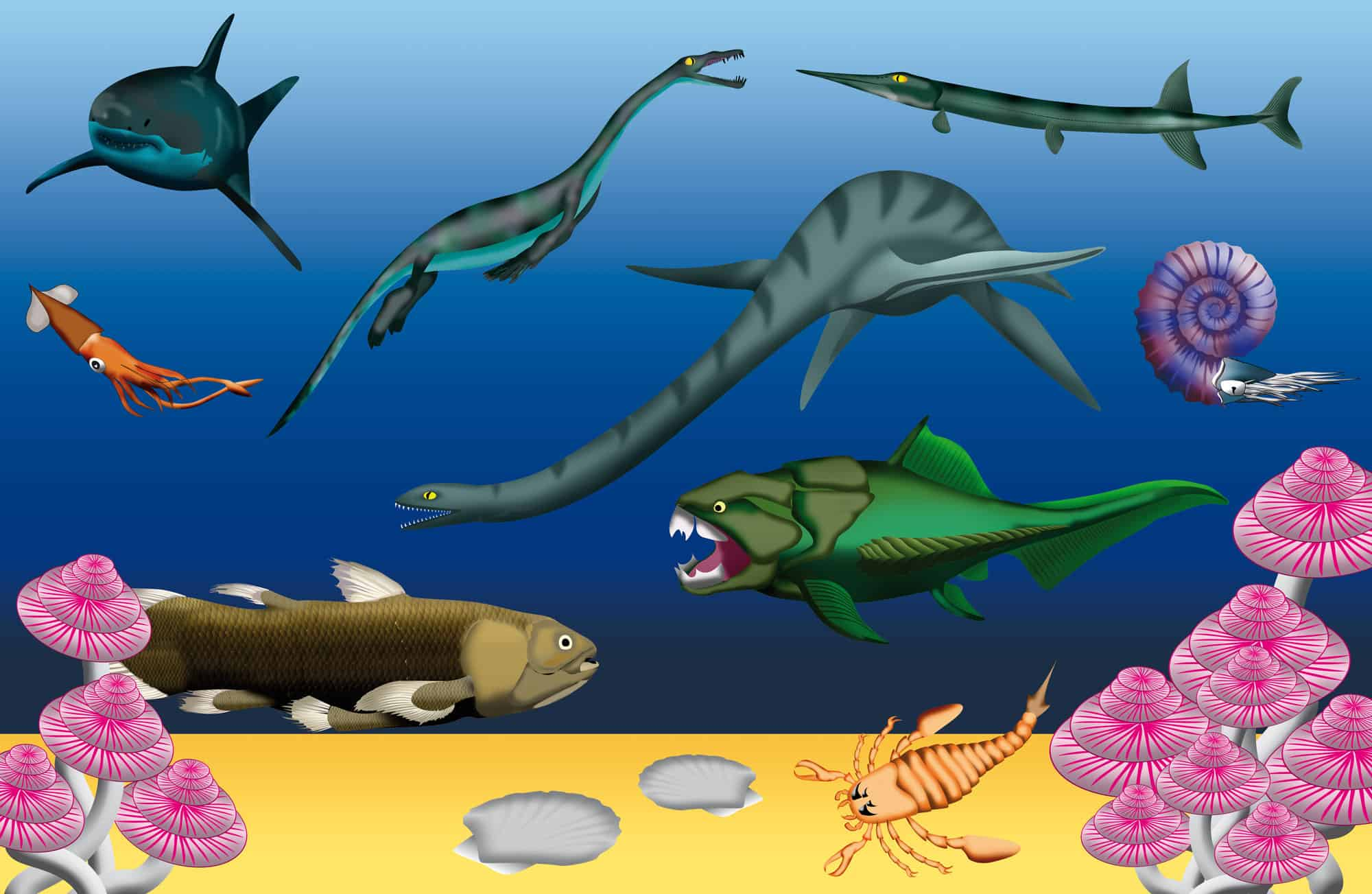 underwater life in the Triassic