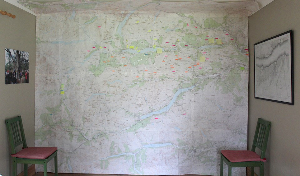 This large map initially created for the Sylva Caledonia exhibition deliberation... was the focus of the deliberation.