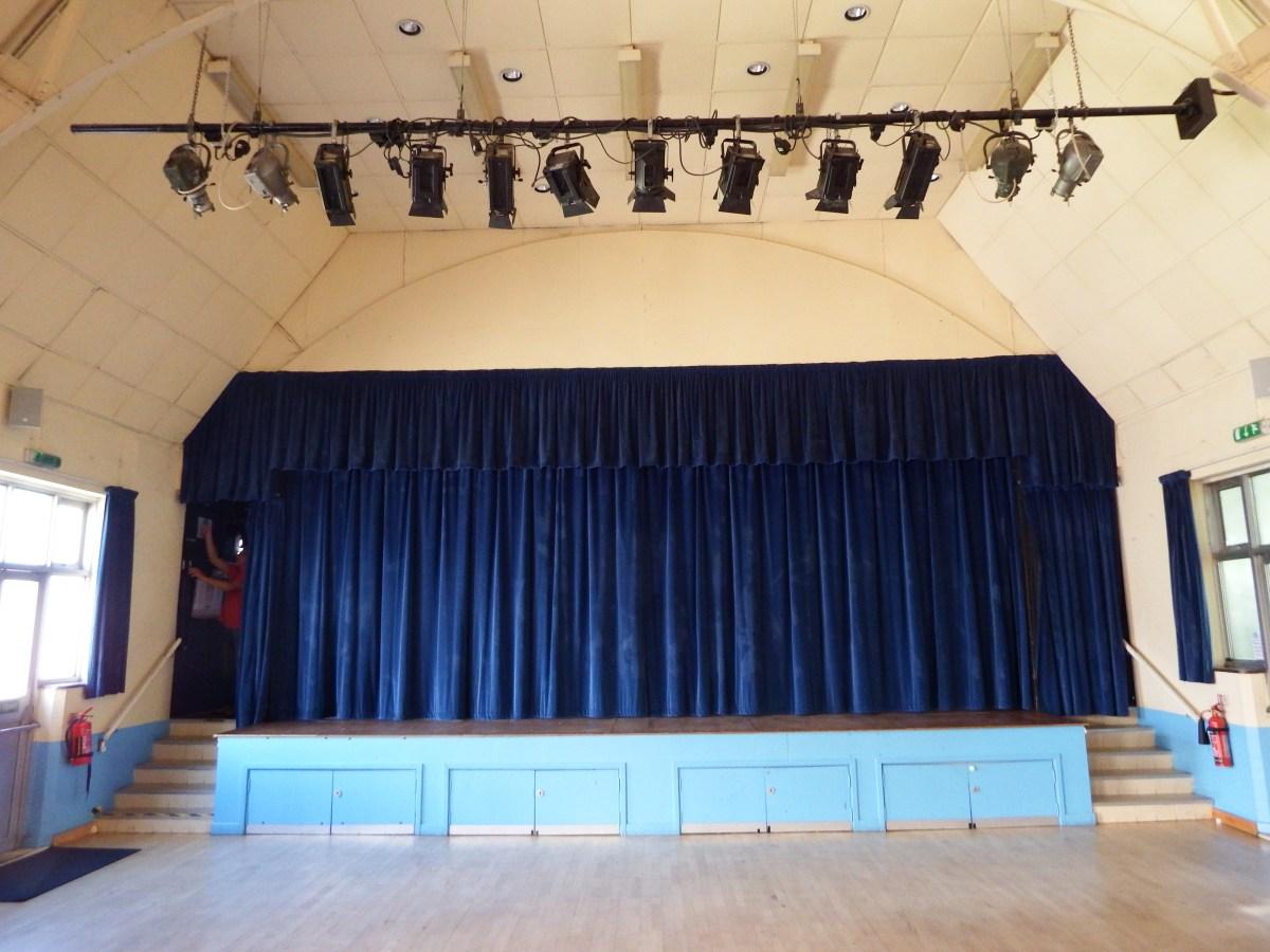 stage and lights at edenbridge village hall