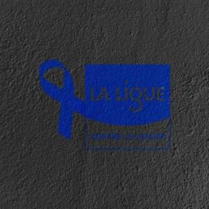 Le logo de la Ligue contre le cancer pour mars bleu peint sur minéral grâce à Mineral Color