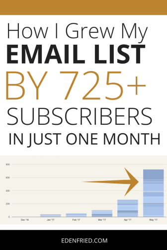 How I Grew My Email List by 725 Subscribers in One Month - EdenFried.com