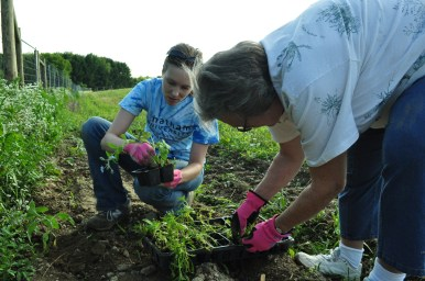 Jenn and the spirituality group planting wildflowers for pollination