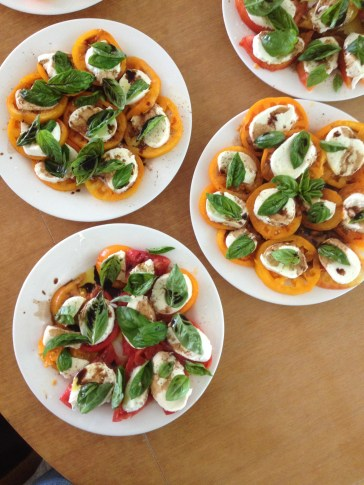 The new Food Studies MA students worked together with the Eden Hall GAs to prepare a delicious lunch from the garden. Here is the caprese salad they prepared.