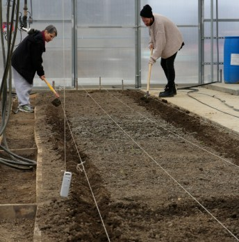 Food Studies students prepare beds for drip irrigation lines.