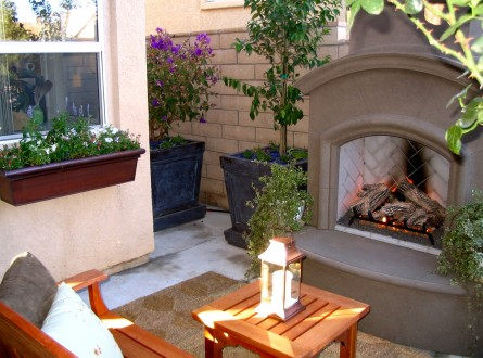 Outdoor Family Room with Fireplace