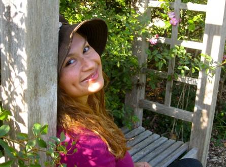 Shirley Bovshow in the garden