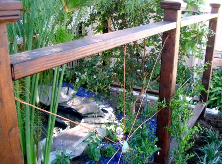 Wood post and copper wire fence