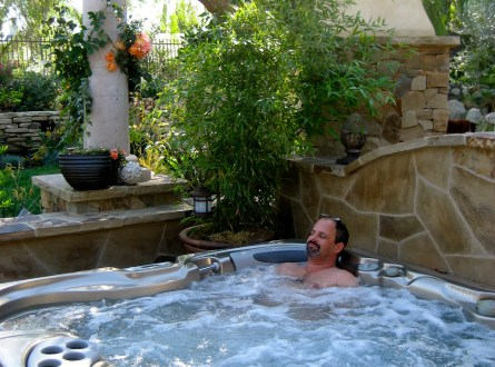 Shirley Bovshow's Spa Retreat Garden Makeover with husband enjoying his daily spa
