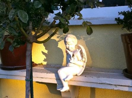 Garden cherub positioned in garden to catch the sunlight